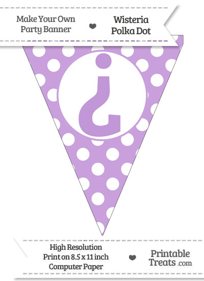 Wisteria Polka Dot Pennant Flag with Inverted Question Mark from PrintableTreats.com