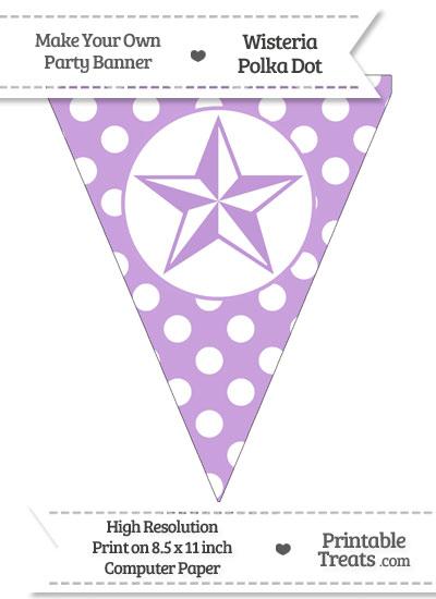 Wisteria Polka Dot Pennant Flag with Nautical Star from PrintableTreats.com