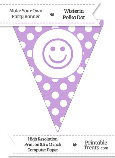 Wisteria Polka Dot Pennant Flag with Smiley Face from PrintableTreats.com