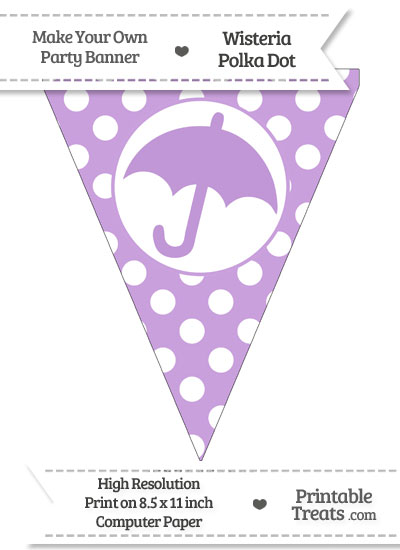 Wisteria Polka Dot Pennant Flag with Umbrella from PrintableTreats.com