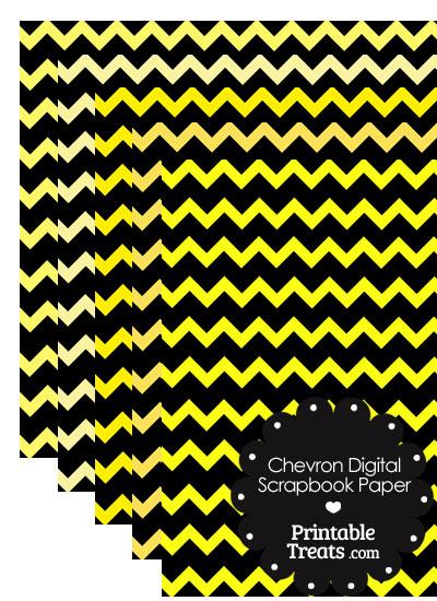 Yellow and Black Chevron Digital Scrapbook Paper from PrintableTreats.com