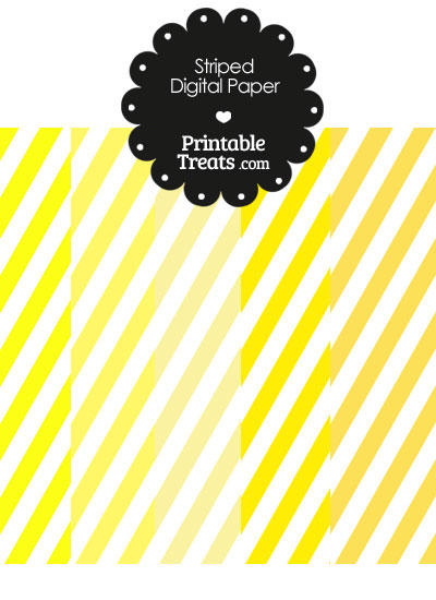 Yellow and White Diagonal Striped Digital Scrapbook Paper from PrintableTreats.com