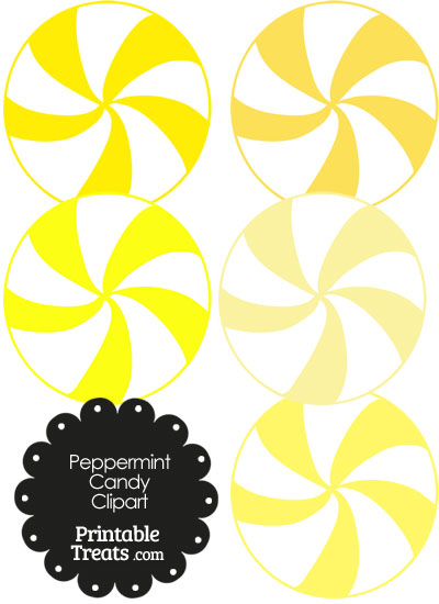 Yellow and White Peppermint Candy Clipart from PrintableTreats.com