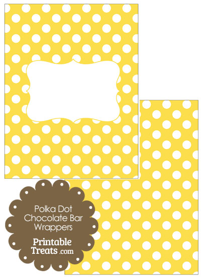 Yellow and White Polka Dot Chocolate Bar Wrappers from PrintableTreats.com