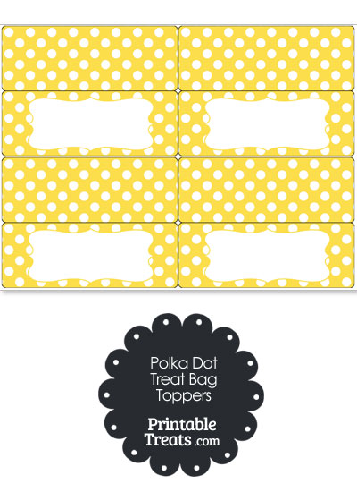 Yellow and White Polka Dot Treat Bag Toppers from PrintableTreats.com