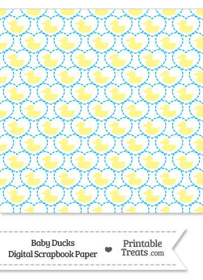 Yellow Baby Ducks Digital Scrapbook Paper from PrintableTreats.com