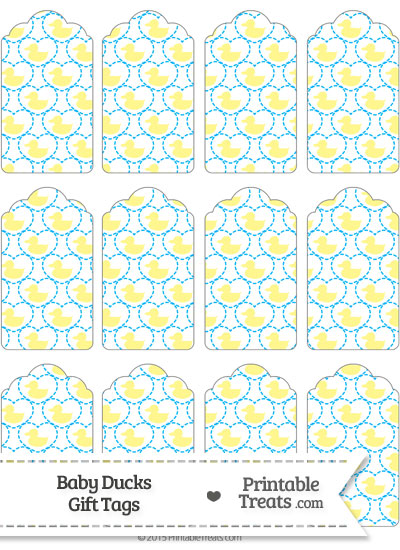 Yellow Baby Ducks Gift Tags from PrintableTreats.com