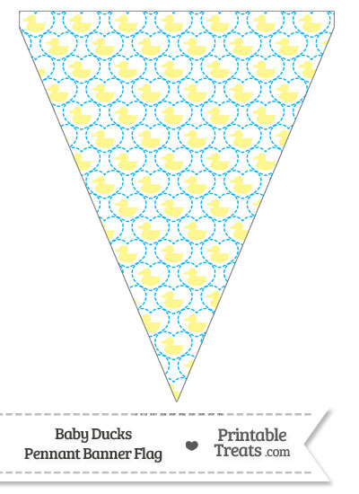 Yellow Baby Ducks Pennant Banner Flag from PrintableTreats.com