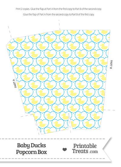 Yellow Baby Ducks Popcorn Box from PrintableTreats.com