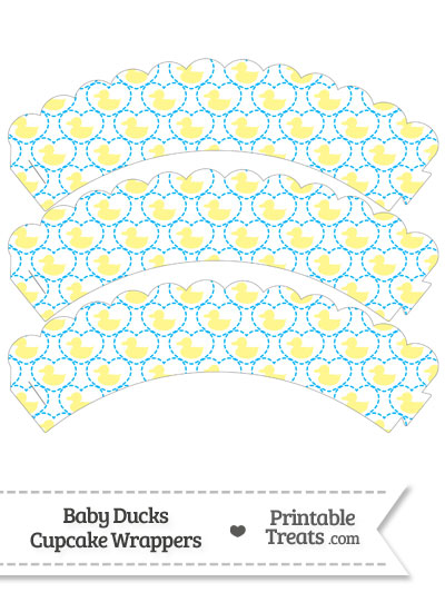 Yellow Baby Ducks Scalloped Cupcake Wrappers from PrintableTreats.com
