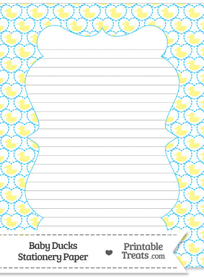 Yellow Baby Ducks Stationery Paper from PrintableTreats.com