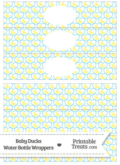 Yellow Baby Ducks Water Bottle Wrappers from PrintableTreats.com