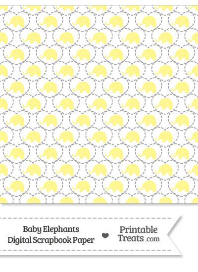 Yellow Baby Elephants Digital Scrapbook Paper from PrintableTreats.com