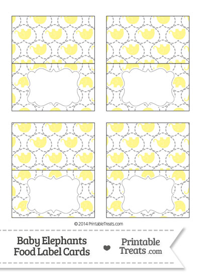 Yellow Baby Elephants Food Labels from PrintableTreats.com