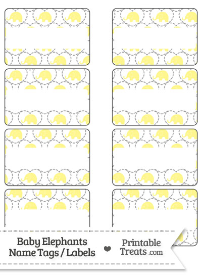 Yellow Baby Elephants Name Tags from PrintableTreats.com