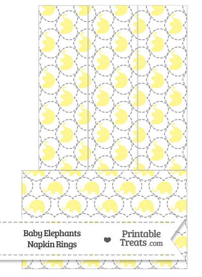 Yellow Baby Elephants Napkin Rings from PrintableTreats.com