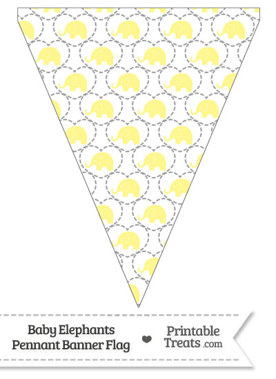 Yellow Baby Elephants Pennant Banner Flag from PrintableTreats.com