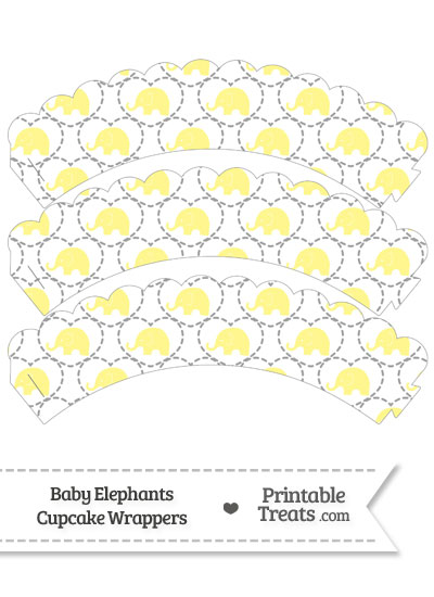 Yellow Baby Elephants Scalloped Cupcake Wrappers from PrintableTreats.com