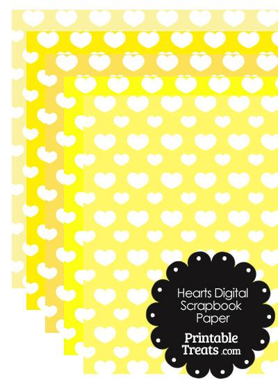 Yellow Background Heart Digital Scrapbook Paper from PrintableTreats.com