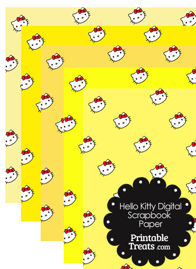 Yellow Background Hello Kitty Digital Scrapbook Paper from PrintableTreats.com