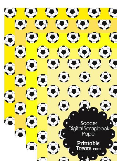 Yellow Background Soccer Digital Scrapbook Paper from PrintableTreats.com
