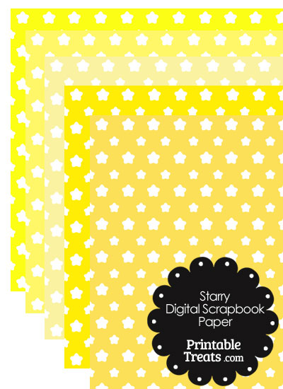 Yellow Background Star Digital Scrapbook Paper from PrintableTreats.com