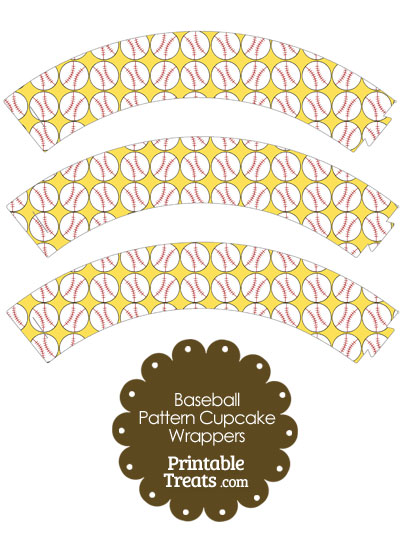 Yellow Baseball Pattern Cupcake Wrappers from PrintableTreats.com