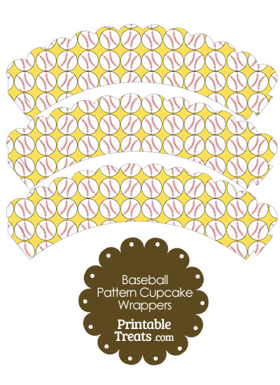 Yellow Baseball Pattern Scalloped Cupcake Wrappers from PrintableTreats.com