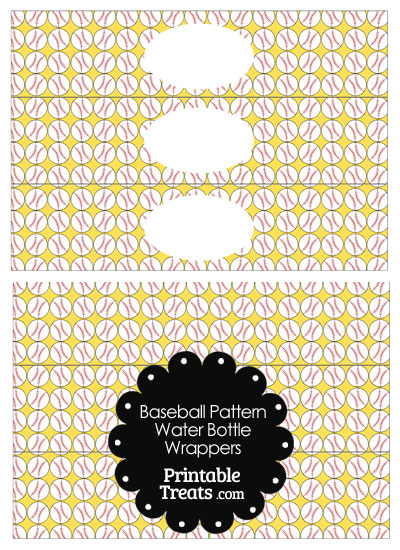 Yellow Baseball Pattern Water Bottle Wrappers from PrintableTreats.com