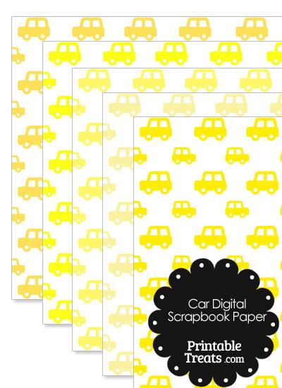 Yellow Car Digital Scrapbook Paper from PrintableTreats.com