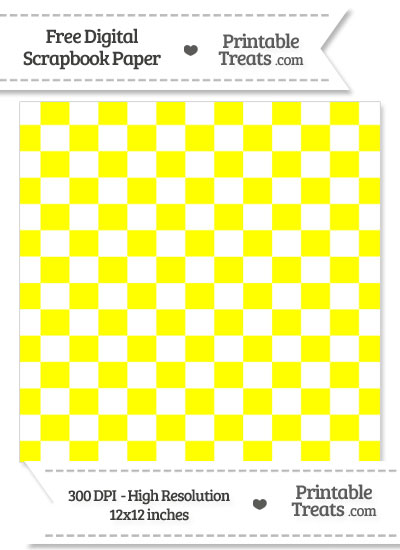Yellow Checkered Pattern Digital Paper from PrintableTreats.com