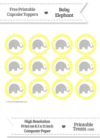 Yellow Chevron Baby Elephant Cupcake Toppers from PrintableTreats.com