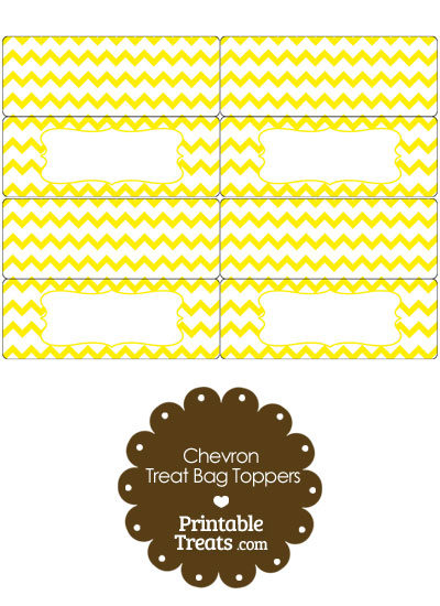 Yellow Chevron Treat Bag Toppers from PrintableTreats.com