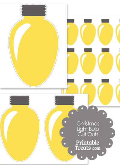Yellow Christmas Light Bulb Cut Outs — Printable Treats.com