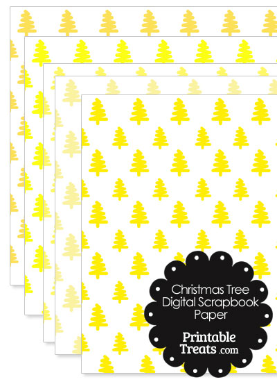Yellow Christmas Tree Digital Scrapbook Paper from PrintableTreats.com