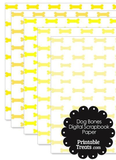Yellow Dog Bone Digital Scrapbook Paper from PrintableTreats.com