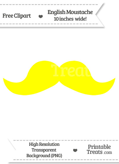 Yellow English Mustache Clipart from PrintableTreats.com