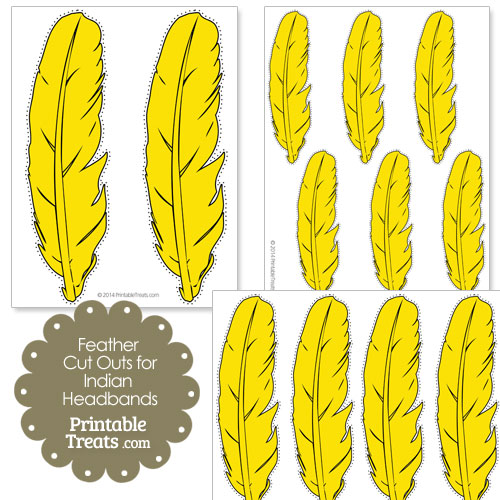 yellow feather cut outs for Indian headbands