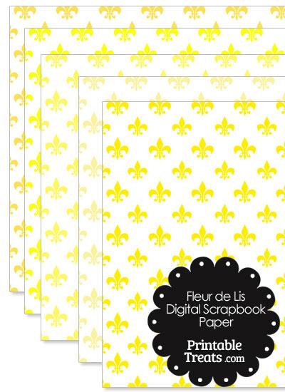 Yellow Fleur de Lis Digital Scrapbook Paper from PrintableTreats.com