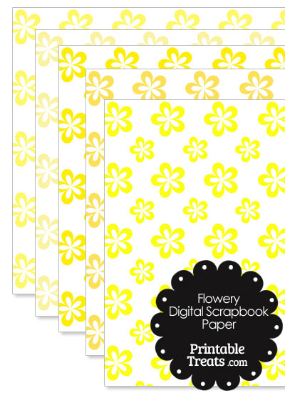 Yellow Flower Digital Scrapbook Paper from PrintableTreats.com