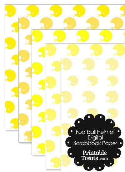 Yellow Football Helmet Digital Scrapbook Paper from PrintableTreats.com