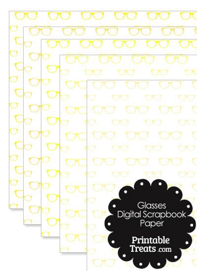 Yellow Glasses Digital Scrapbook Paper from PrintableTreats.com
