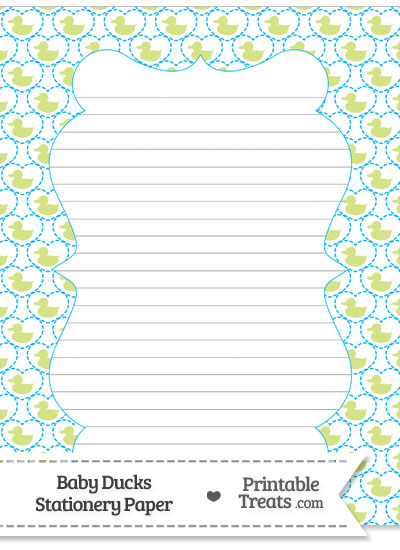 Yellow Green Baby Ducks Stationery Paper from PrintableTreats.com