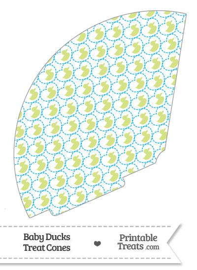 Yellow Green Baby Ducks Treat Cone from PrintableTreats.com