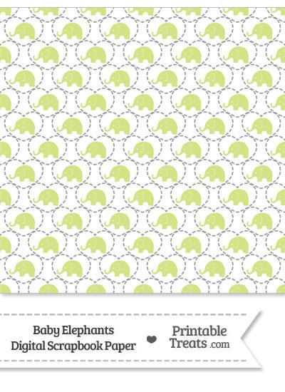 Yellow Green Baby Elephants Digital Scrapbook Paper from PrintableTreats.com