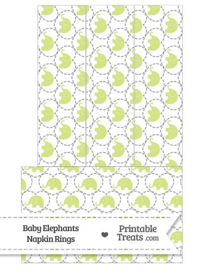 Yellow Green Baby Elephants Napkin Rings from PrintableTreats.com