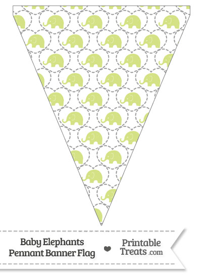 Yellow Green Baby Elephants Pennant Banner Flag from PrintableTreats.com