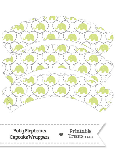 Yellow Green Baby Elephants Scalloped Cupcake Wrappers from PrintableTreats.com