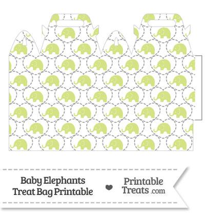 Yellow Green Baby Elephants Treat Bag from PrintableTreats.com