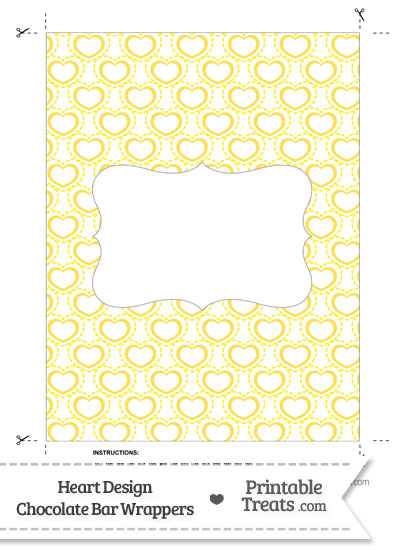 Yellow Heart Design Chocolate Bar Wrappers from PrintableTreats.com